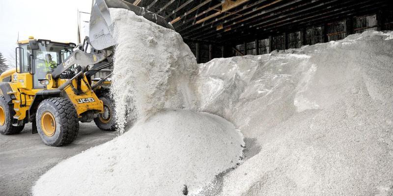 Truck loading road salt